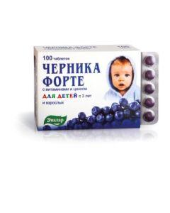 ЧЕРНИКА ФОРТЕ с витаминами и цинком ( для детей с 3 лет и взрослых ) 100таб ЭВАЛАР