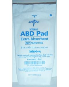 "Medline NON21450 ABD Pad Extra-absorbent 5"" x 9"" QTY 10 Pads"