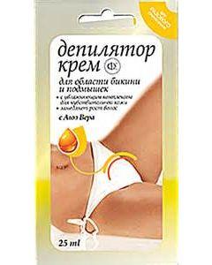 Депилятор Крем для области бикини и подмышек для чувствительной кожи с экстрактом Алоэ Вера, 25 мл