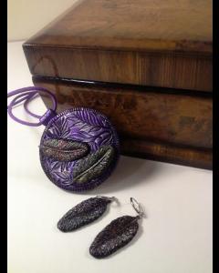 Набор Волшебные перья, серьги и кулон